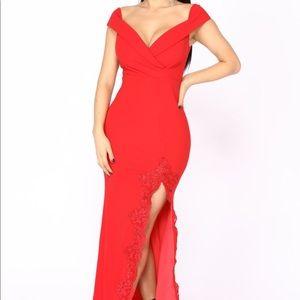 Fashion nova off the shoulder red prom dress